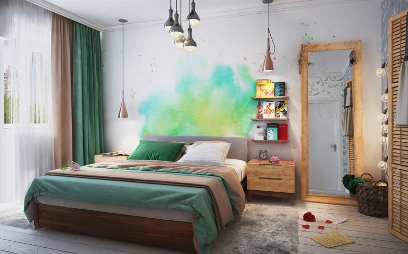 bedroom-green-watercolor-wall-art-bookshelves-large-mirror