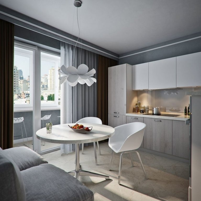 французские двери на балкон из кухни дизайн кухни с